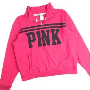 PINK VS 1/2 Zip Pullover Sweatshirt Size Large